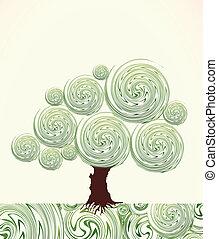 árvore., mão, vetorial, ornate, redemoinho, desenhado