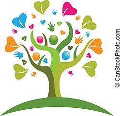 árvore, mãos, e, corações, figuras, logotipo, ícone, vetorial