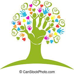 árvore, mãos, e, corações, figuras, logotipo