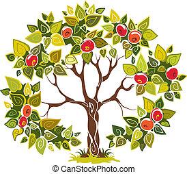 árvore, maçã, frutífero