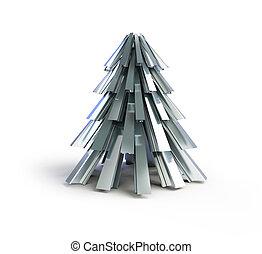 árvore, metal, .fir, fundo, christmas branco