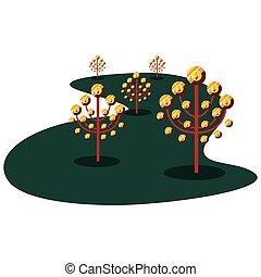 árvore, moedas, crescimento, dinheiro