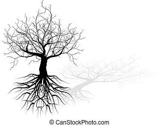 árvore morta, com, raizes, vetorial, fundo, pretas, conceito