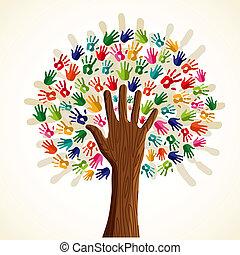 árvore, multi-étnico, coloridos