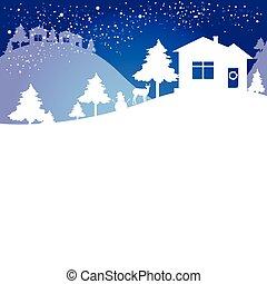 árvore natal, azul, branca