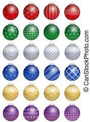 árvore natal, bolas, coloridos