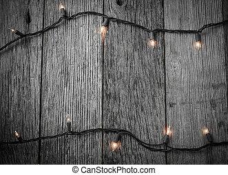 árvore natal branca, luzes, com, rústico, madeira, fundo