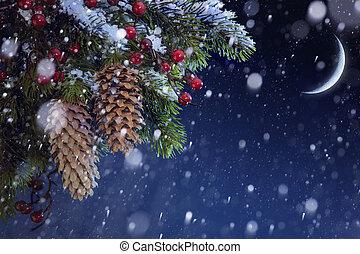 árvore natal, coberto, com, neve, ligado, a, azul, céu...