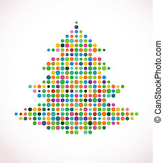 árvore natal, com, abstratos, coloridos, doted, padrão