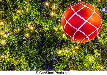 árvore natal, com, coloridos, bolas