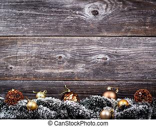 árvore natal, com, dourado, baubles, ligado, textura madeira