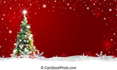 árvore natal, com, neve, desabando, inverno