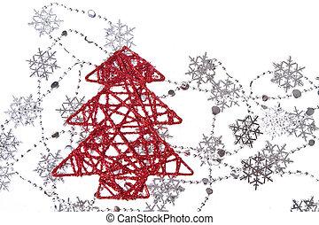 árvore natal, com, snowflakes