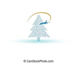 árvore natal, de, snowflake, com, avião, eps10