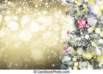 árvore natal, e, bokeh, luz, com, espaço cópia