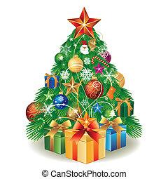 árvore natal, e, caixa presente