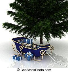 árvore natal, e, natal, santa, trenó, com, presentes, ligado, um, fundo branco