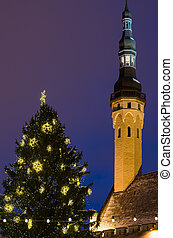 árvore natal, e, torre, de, a, corredor cidade, em, tallinn