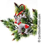 árvore natal, feriado, ornamento, penduradas, de, um, sempre-viva, ramo