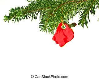 árvore natal, feriado, ornamento, penduradas, de, um, sempre-viva, ramo, isolado