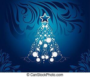 árvore., natal, fundo, brilhar