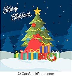 árvore natal, ilustração, desenho