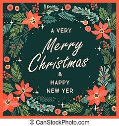 árvore, natal, ilustração, feliz, ano, flowers., novo