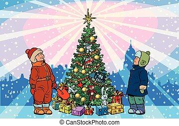 árvore natal, levantar, fundo, feriado, crianças