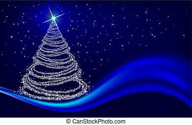 árvore natal, ligado, azul
