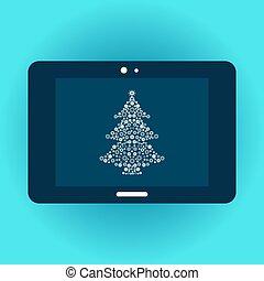 árvore natal, ligado, tabuleta, tela