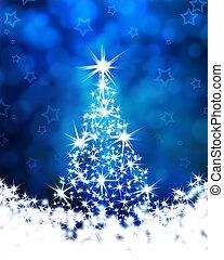 árvore natal, ligado, um, experiência azul