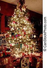 árvore, natal, noturna