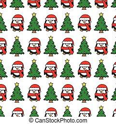 árvore, natal, pingüim