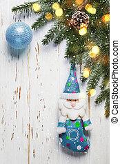 árvore natal, ramo, com, azul, brinquedos, branco, madeira, fundo