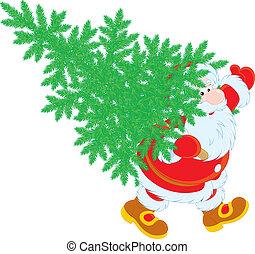 árvore, natal, santa