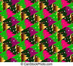 árvore natal, seamless, geometria, padrão, em, luminoso, carnaval, colors., ouro, e, vermelho, inverno, fest, repeatable, motivo, com, stars., vetorial, ilustração