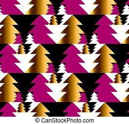 árvore natal, seamless, geometria, padrão, em, luminoso, carnaval, colors., ouro, e, vermelho, inverno, fest, repeatable, motif., vetorial, ilustração