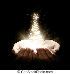 árvore, natal, segurando