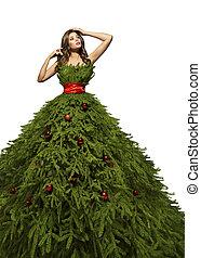 árvore natal, vestido, mulher, posar, em, xmas, modelo moda, vestido, ano novo, menina, traje, isolado, sobre, fundo branco