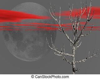árvore nua, com, vermelho, riscado, céu