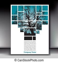 árvore, original, esquema, página