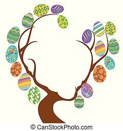 árvore, ovos, cópia, páscoa, espaço