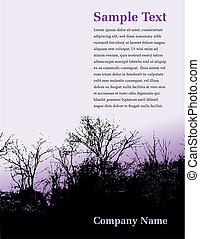 árvore, página, paisagem
