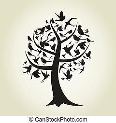 árvore, pássaro