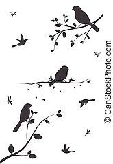árvore, pássaros, coloridos