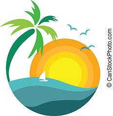 árvore palma, com, pôr do sol, vista