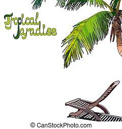 árvore palma, fundo, chaise-longue