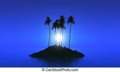 árvore palma, ilha