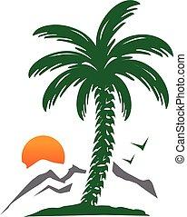 árvore palma, ilustração