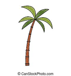 árvore, palma, rabisco, isolado
